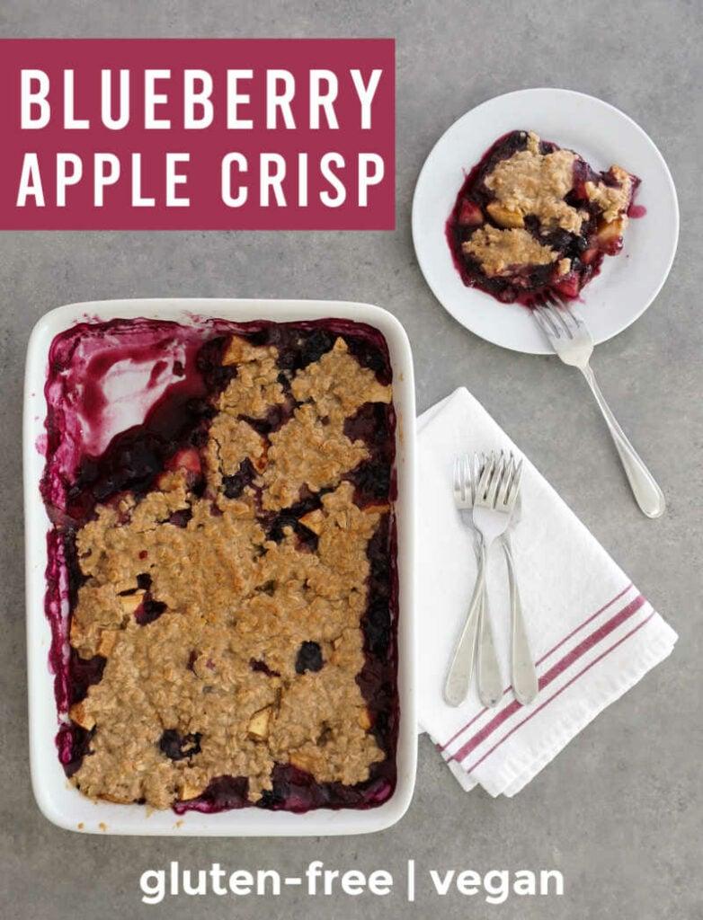 Blueberry apple crisp in pan