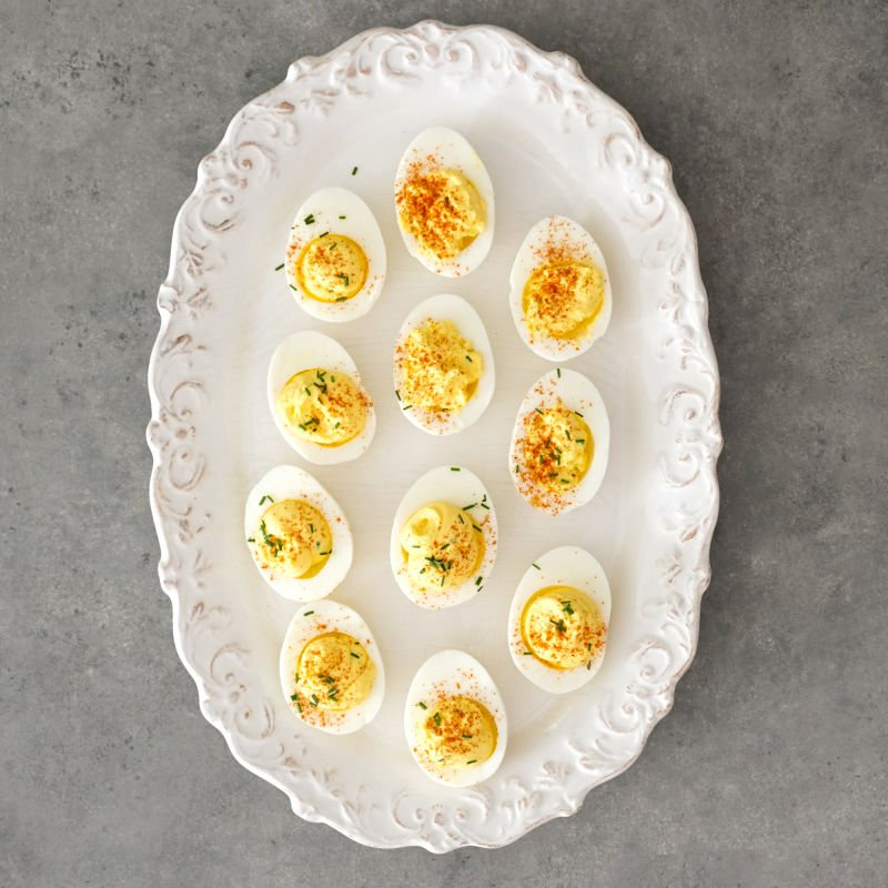 Eggs on platter from above