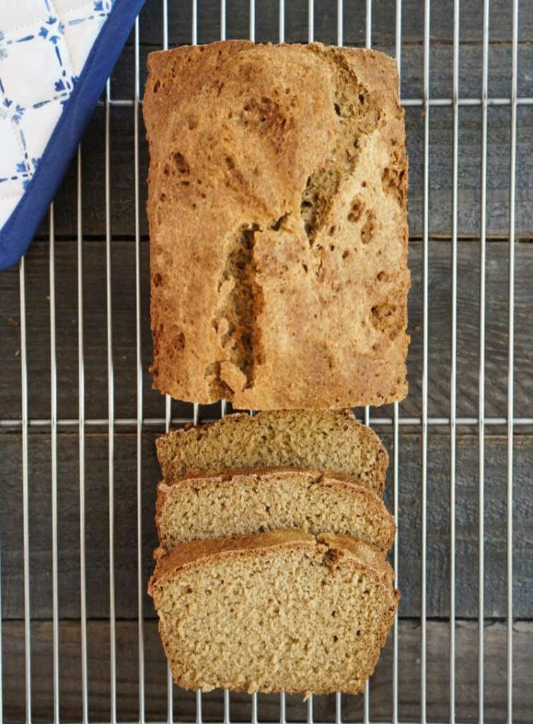 Gluten free oatmeal bread on cooling rack
