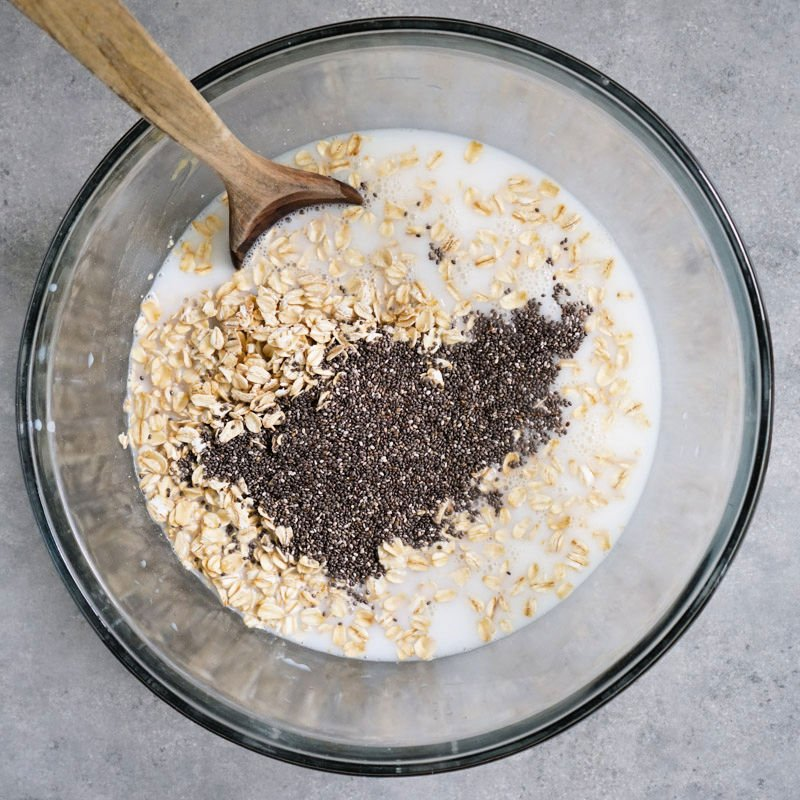 Overnight oat ingredients in a large bowl