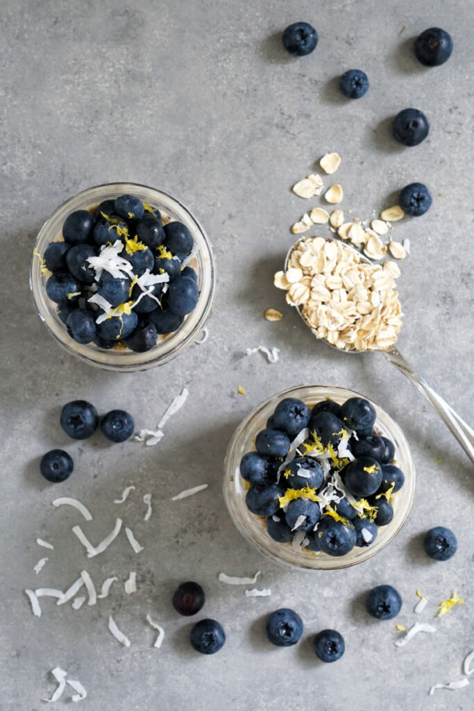 Blueberry banana overnight oats from above