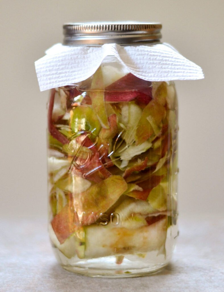 Apple scraps soaking in a jar