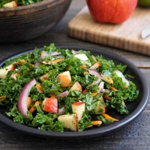 Kale apple slaw on a plate