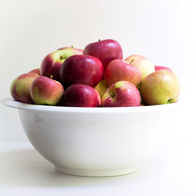 Big bowl of apples from apple picking trip
