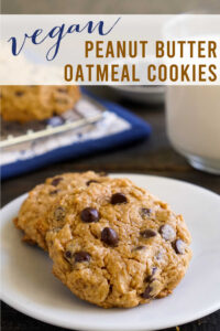 Vegan peanut butter oatmeal cookies on a plate