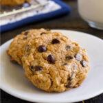 Vegan peanut butter oat cookies on a plate