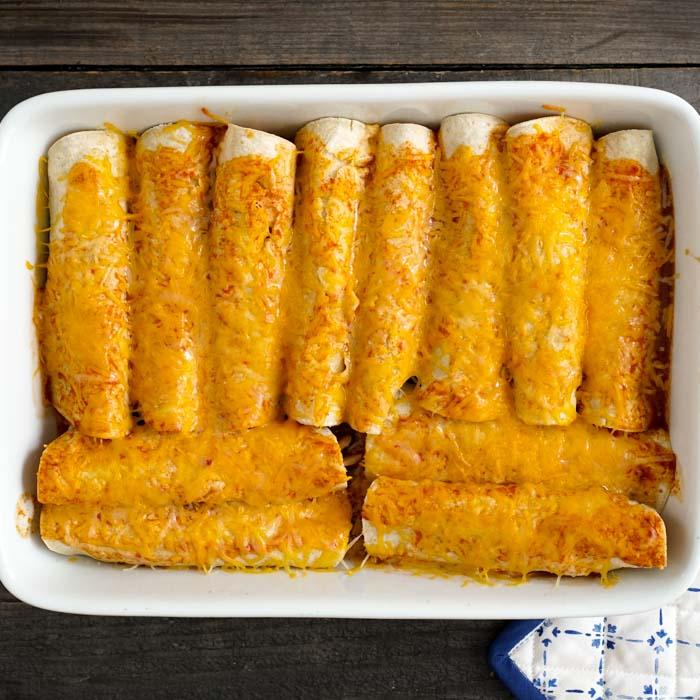 Gluten free enchiladas in the pan after baking