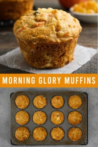 Gluten free morning glory muffins on a table and in a muffin pan