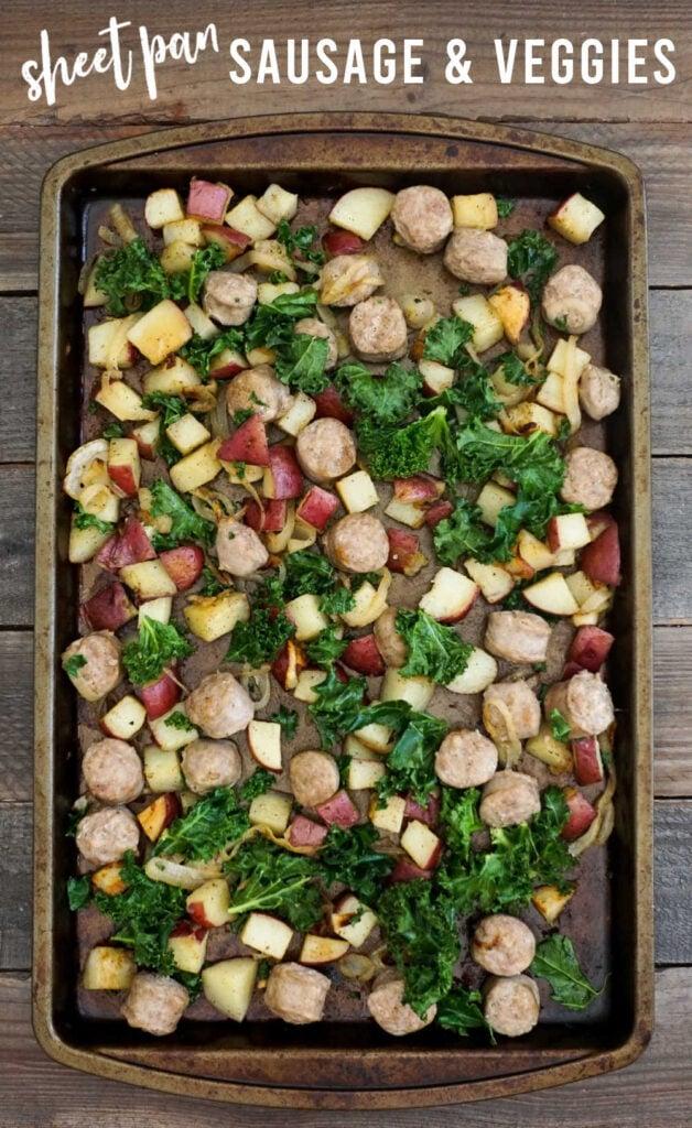 Sausage and veggies in sheet pan