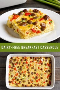 Dairy-free breakfast casserole collage with a cut piece and the full casserole