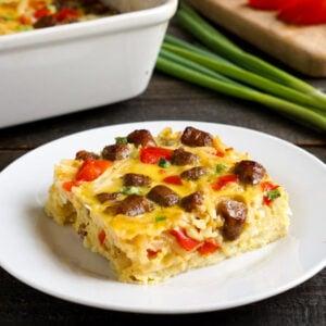 Dairy-free breakfast casserole on a plate