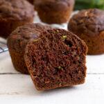 Chocolate zucchini muffin cut in half