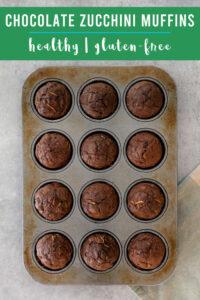 Gluten free chocolate zucchini muffins in a pan