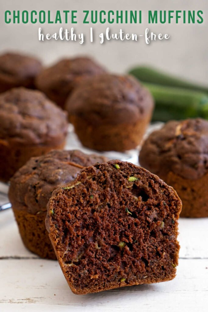 Chocolate zucchini muffin cut in half