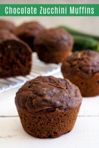 Chocolate zucchini muffin on the table