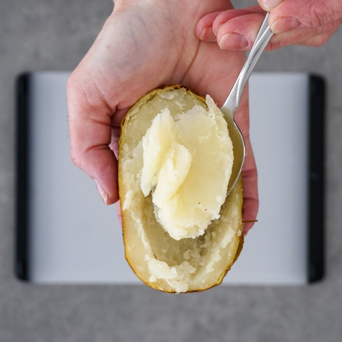 Remove cooked potato filling