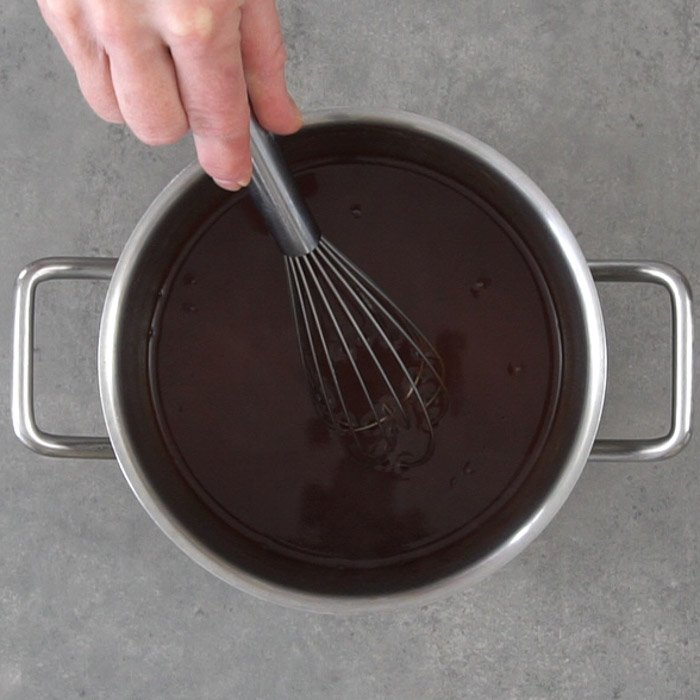 Chocolate syrup in a pot