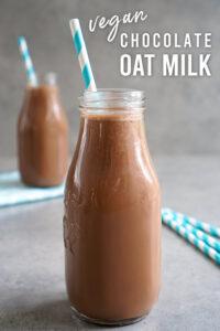 Chocolate oat milk in a glass