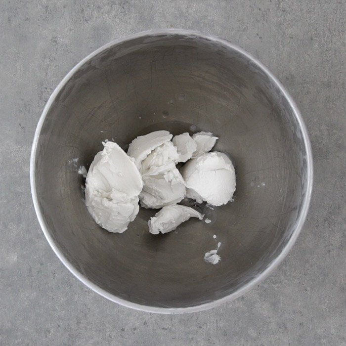 Coconut cream in mixing bowl before whipping