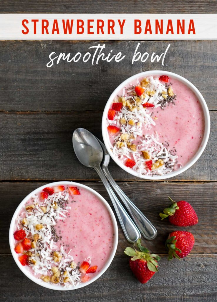 Strawberry banana smoothie bowls from above