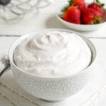 Vegan whipped cream in a bowl