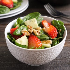 Strawberry spinach salad in bowl