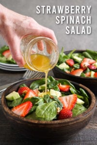 Strawberry spinach salad with dressing