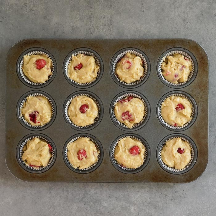 Gluten free lemon raspberry muffins before baking