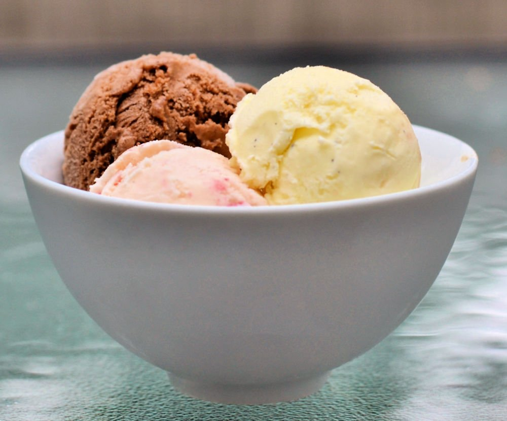 Homemade ice cream in a bowl