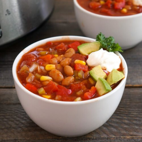 Crockpot freezer meal chili in a bowl
