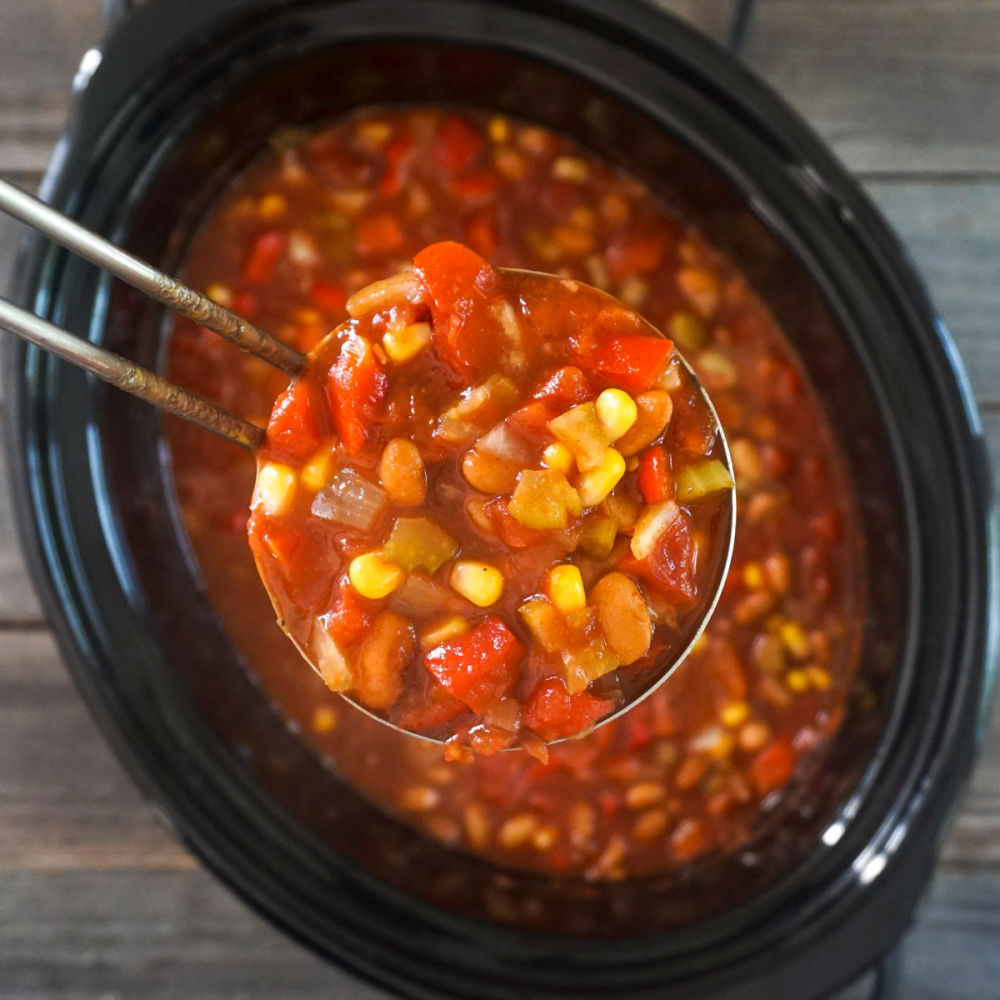 Crockpot freezer meal chili in a ladle