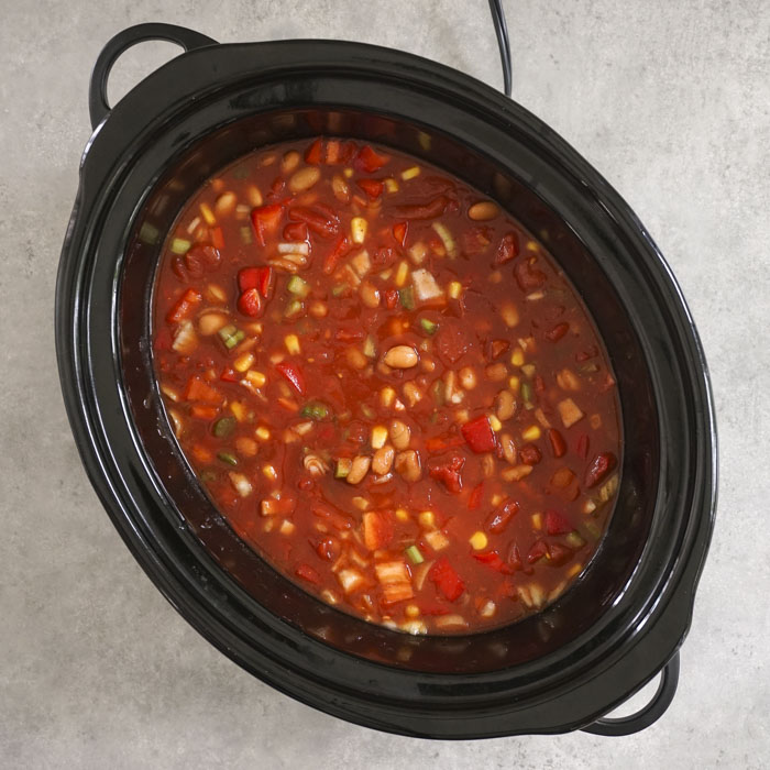 Chili ingredients in the Crockpot