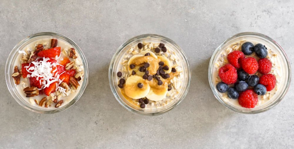 Chia oatmeal jars from above