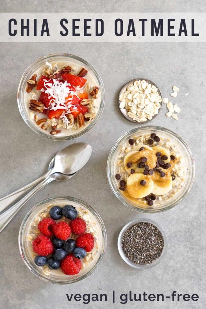 Chia seed oatmeal in jars