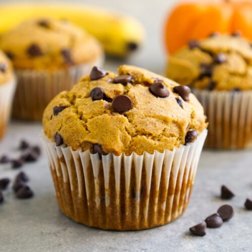 Pumpkin banana muffins with chocolate chips