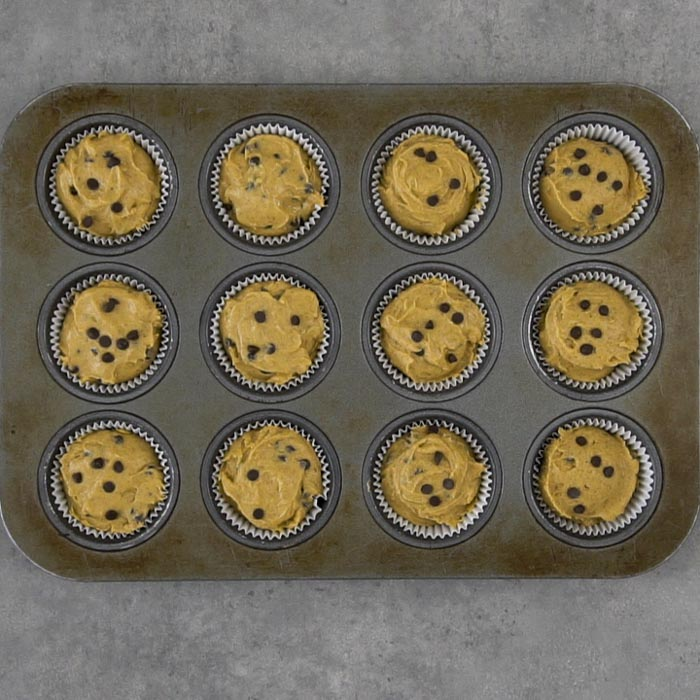 Muffins in the pan ready to bake